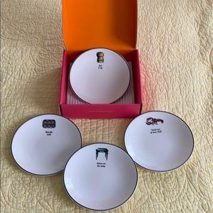 Kate Spade Tidbit Plates-BNIB-Set of 4